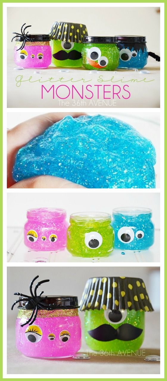 #Halloween DIY Slime Monsters... These are so fun and kids love them! Glitter Slime Recipe and Tutorial at the36thavenue.com