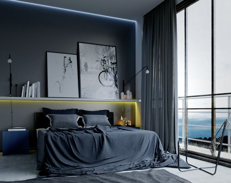 Bedroom:Awesome Modern Masculine Bedroom With Gray Cushions Also Bedding Also Painting On Vanity Beds Also Wall Lamps And Books Also Curtians And Large Glass Windows With Landscape View Its Cool Bedroom Some Ideas of Modern Bedroom Design to Inspire You