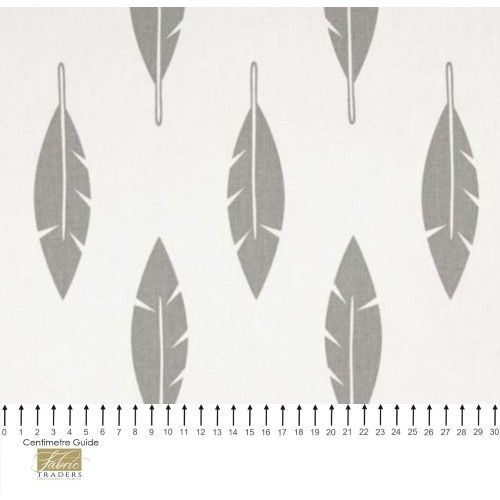 Feather Silhouette Cotton Home Decor Fabric in Grey on White - Order Online - Fabric Traders