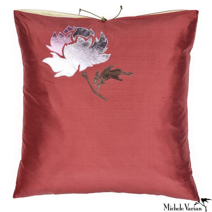 Silk Applique Pillow Falling Rose Dusty Rose 20x20