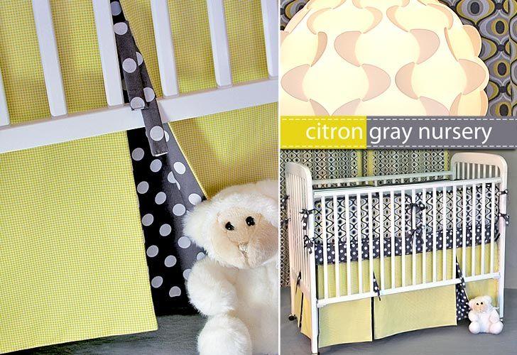 Michael Miller Fabrics' Citron-Gray Nursery: Pleated Crib Skirt