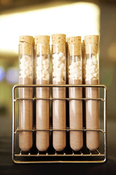 Winter wedding favor idea - hot chocolate mix in test tubes {Pepper Nix Photography}