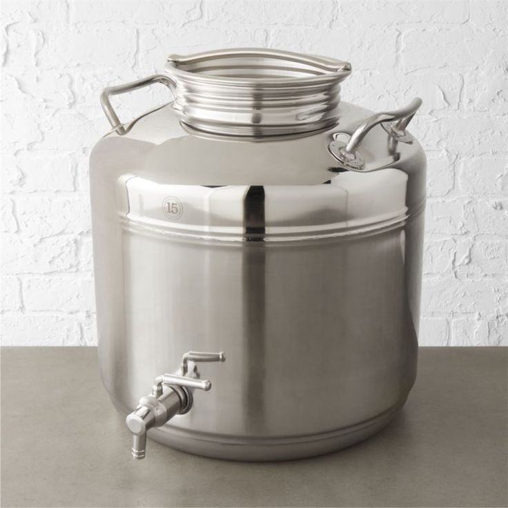 Shop stainless steel fustis beverage dispenser.   Traditionally used for housing olive oil, we reimagined Fustis as a modern beverage server.  Italian-made honoring old-world traditions, its just the thing for parties and celebrations.