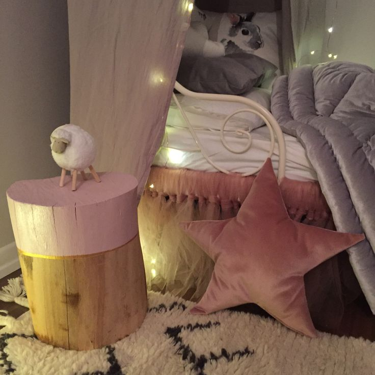 Decorating my daughters room, we have done the wood side table , the star pillow at home. nursery decoration