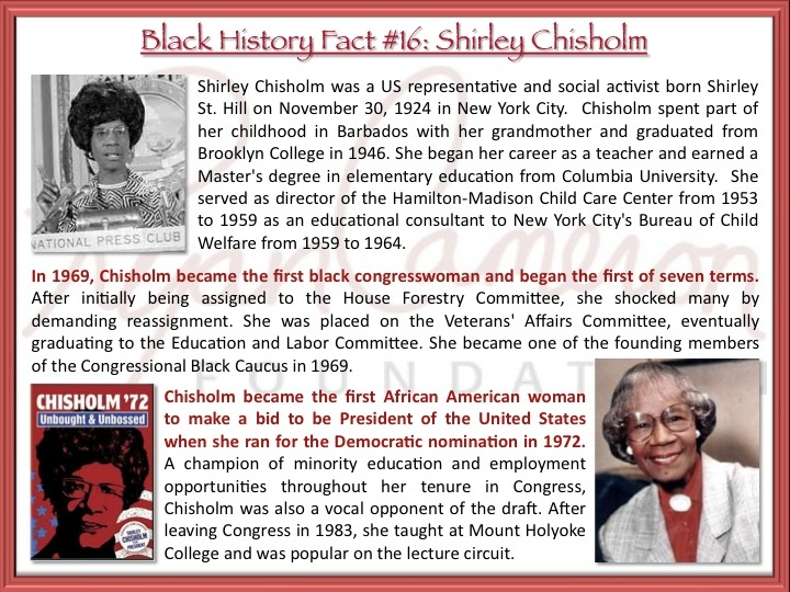 the life and accomplishments of shirley chisholm Find out more about the history of shirley chisholm, including videos biography courtesy of biocom tags rosa parks' life after the bus was no easy ride.