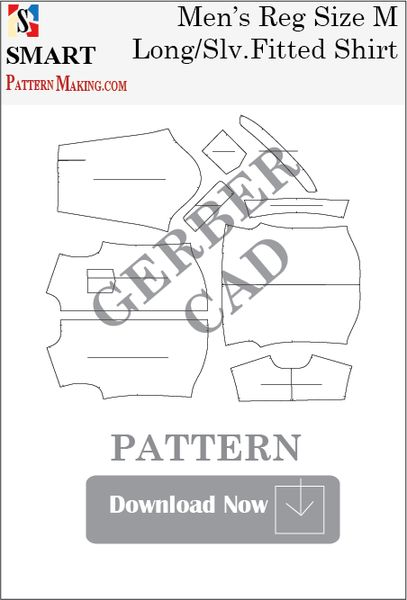 Gerber/CAD Men's Long Sleeve Fitted Shirt Sewing Pattern - smart pattern making