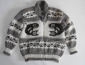 A genuine Cowichan sweater from the First Nations People of British Columbia, Canada