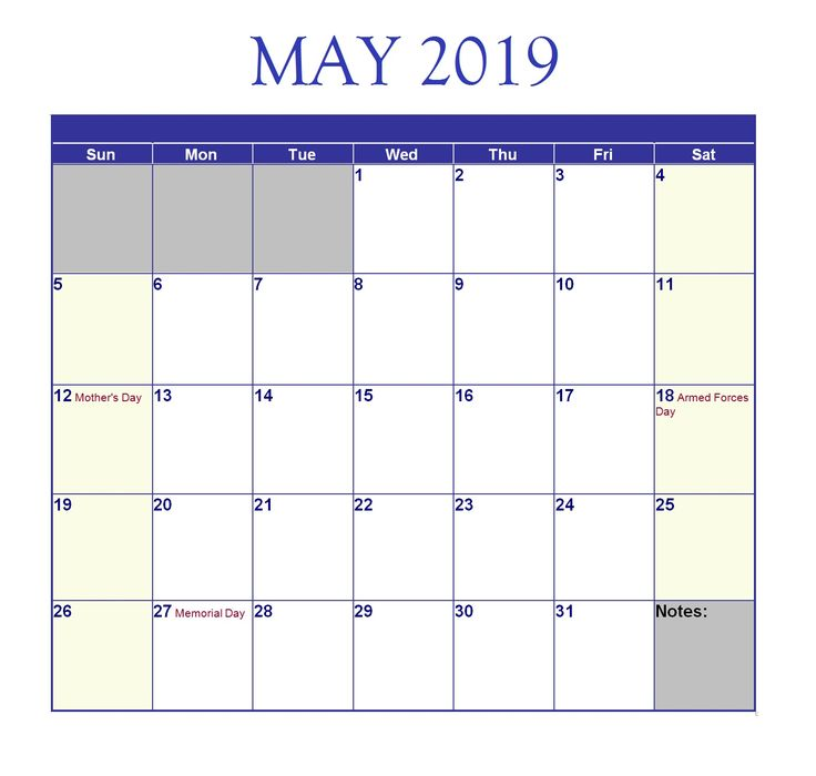 Monthly Editable Calendar For May 2019 #may #may2019