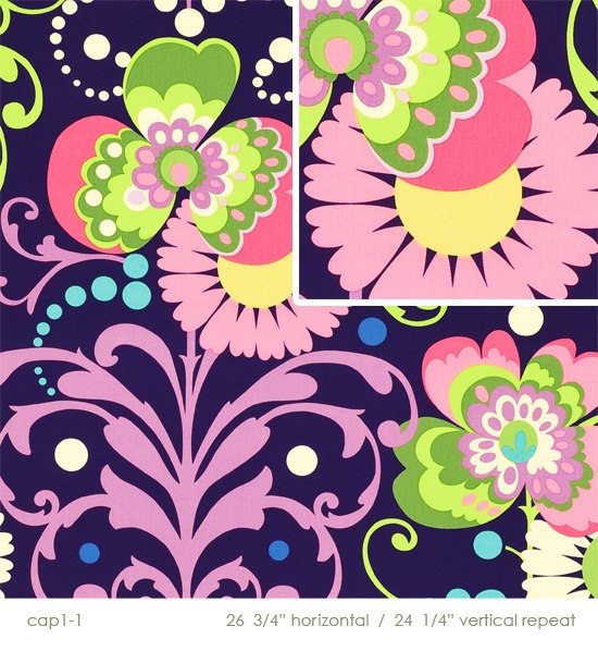 Amy Butler Paradise Garden In Midnight, Home Decor Fabric, Love Collection,  54/