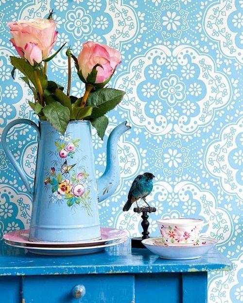 Rose Blue Bird Coffee Pot   RECICLAR PARA DECORAR   Pinterest   Shabby chic, Decor and Blue