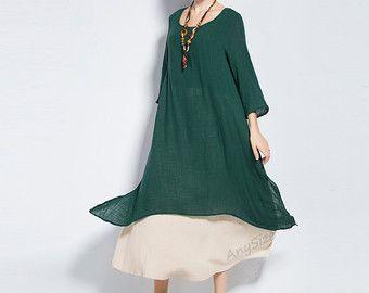 Anysize soft linen&cotton two-piece dress plus size dress plus size tops plus size clothing summer spring autumn dress Y96 by AnySize