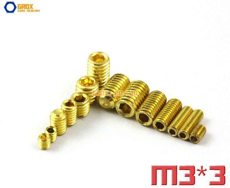 100 Pieces M3 x 3mm Brass Grub Screws Cup Point Hex Socket Set Screw #Affiliate