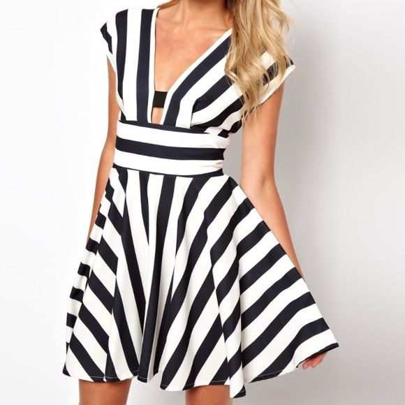 ASOS Striped dress with strappy back ⭐️ Worn twice! ✌ Was thinking of wearing this in the Hamptons with a cute sun hat, sandals and a matching tote but the trip didn't happen this year  so I'm selling it!  ASOS Dresses Mini