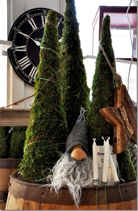 Moss covered Christmas trees