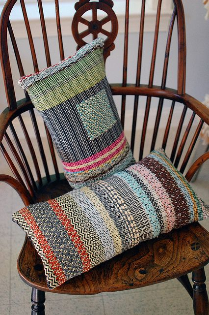 new rag rosepath pillows by Avalanche Looms, via Flickr