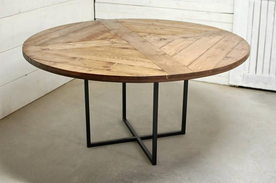 Round Wood Industrial Dining Table Wood Furniture Modern Modern