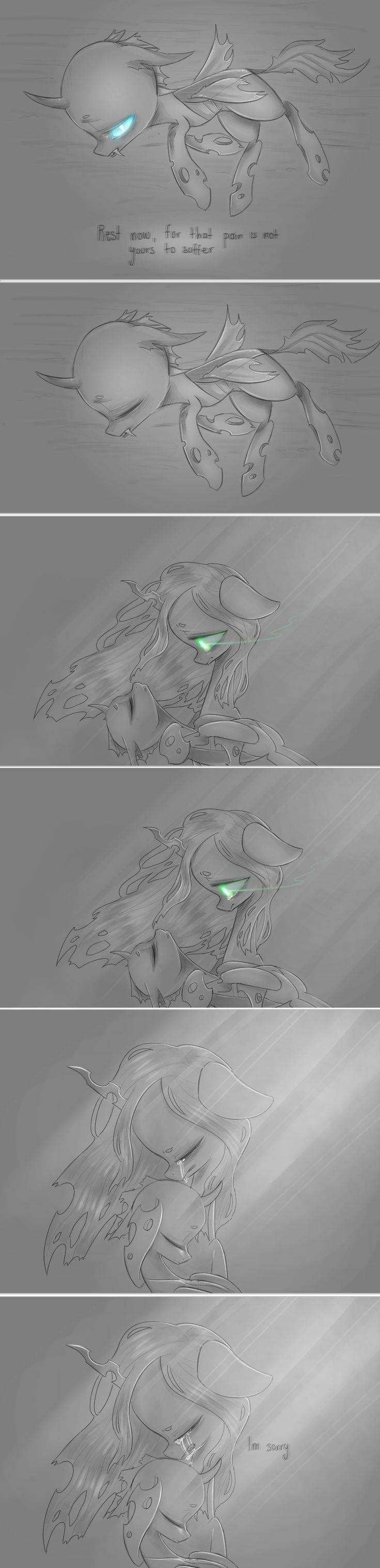 I'm sorry Chrysalis fro kicking you out ;--; I'm sorry for making fun of your kids ;--; I'm sorry for calling you swiss cheese ;--; (by Dear-Cotton-Candy on deviantART)