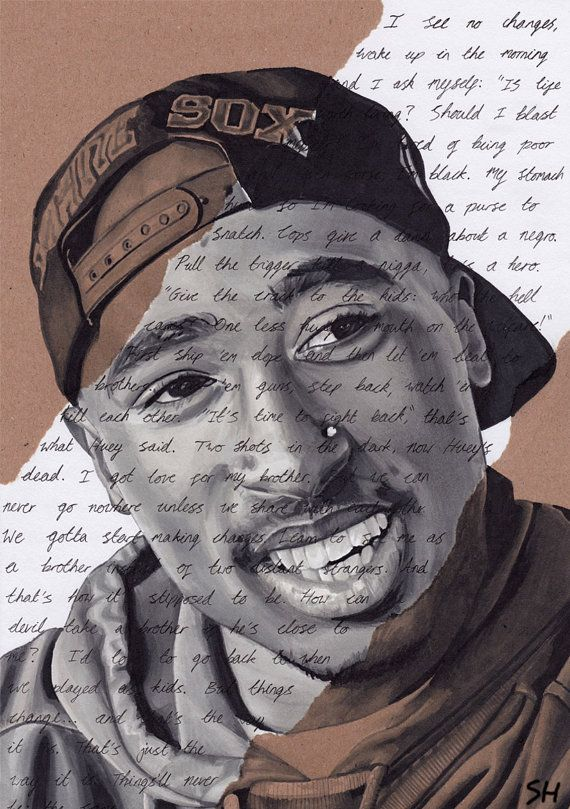 Tupac Shakur Portrait - signed Giclée art print with Changes lyrics. Marker Pen Drawing A4 size 2pac Hip Hop Art