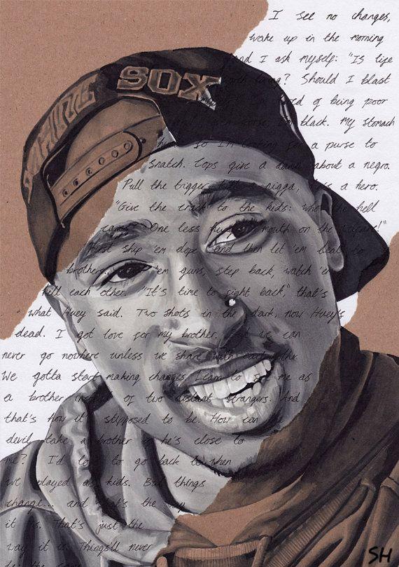 Tupac Shakur Portrait - signed Giclée art print with Changes lyrics. Marker Pen Drawing A4 size 2pac Hip Hop Art