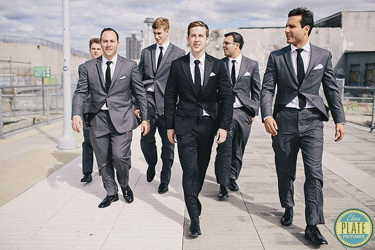 Black by Vera Wang at Men's Wearhouse   Groom in a Black Tux; Groomsmen in Charcoal Tuxes