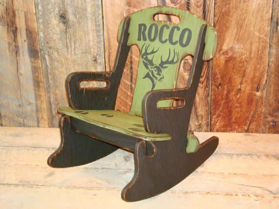 Personalized Puzzle Rocker with Deer Graphic-Rocking Chair for Kids. Rustic Rocking Chair, Childs Rocker. Wooden Rocking Chair for Kid's.
