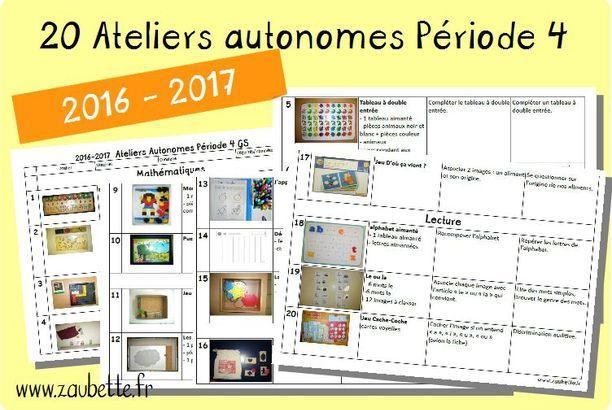 20 ateliers autonomes individuels GS pour la période 4