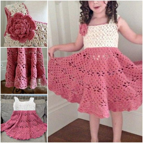 Crochet vintage dress for little girls . Free pattern  #diy #crafts #crochet