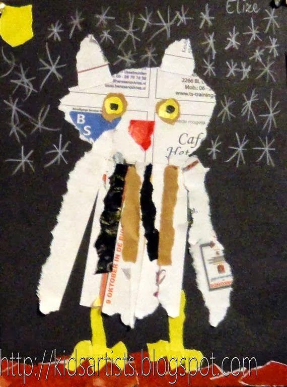 Kids Artists: animals Collage owl