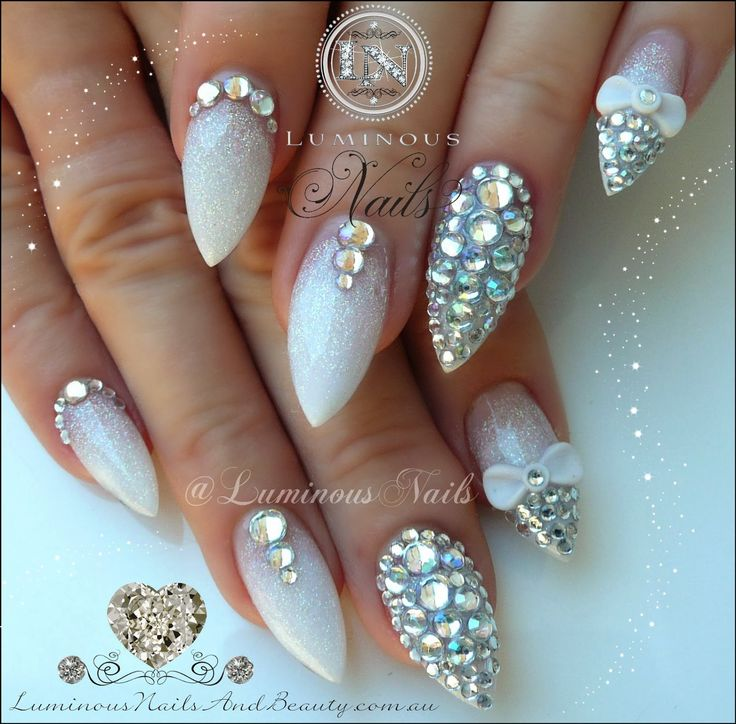 Here comes the Bling, Wedding Nails with Rhinestones and glitter.
