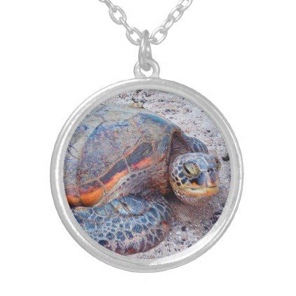 "Cute Hawaiian Sea Turtle ""Honu"" Close-up Photo Silver Plated Necklace - custom gift ideas diy"