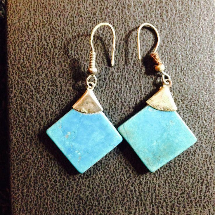 Touquoise Blue Tile Dangle Earrings  by PastFunk on Etsy