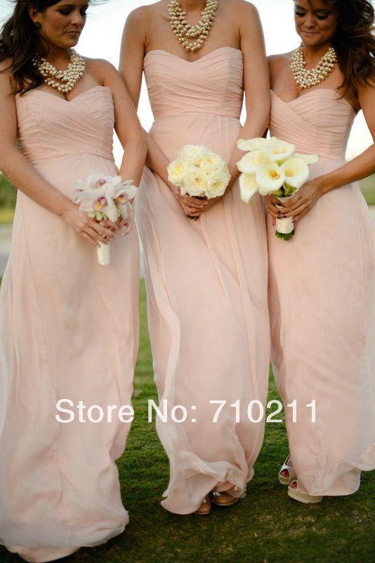 BD037 Free Shipping Light Pink Bridesmaid Dress Sheath Strapless Sweetheart Neck Ruffles Chiffon Floor Length Dress US $85.00