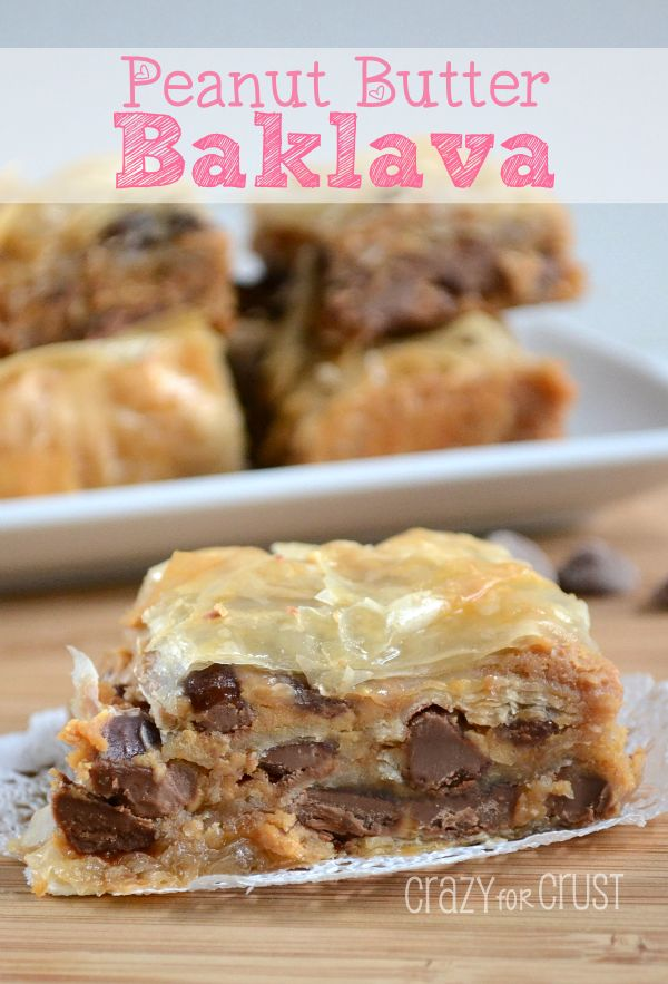 Peanut Butter Baklava~ Your favorite baklava, dressed up with peanut butter and chocolate chips. A sinfully delicious dessert!
