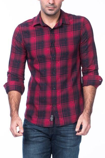 Erkek Kış Kırmızı Kareli Gömlek