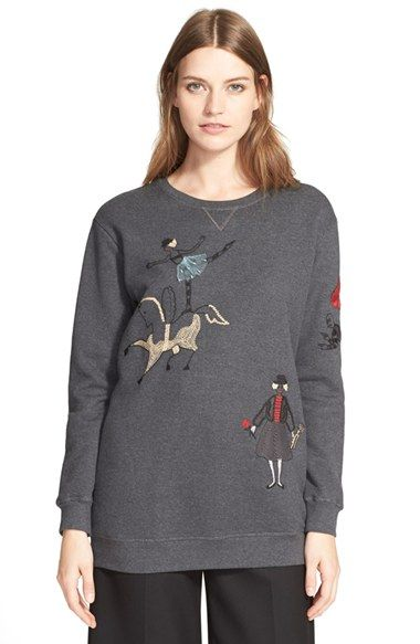 RED Valentino 'Ballerina' Embroidered Jersey Sweatshirt available at #Nordstrom