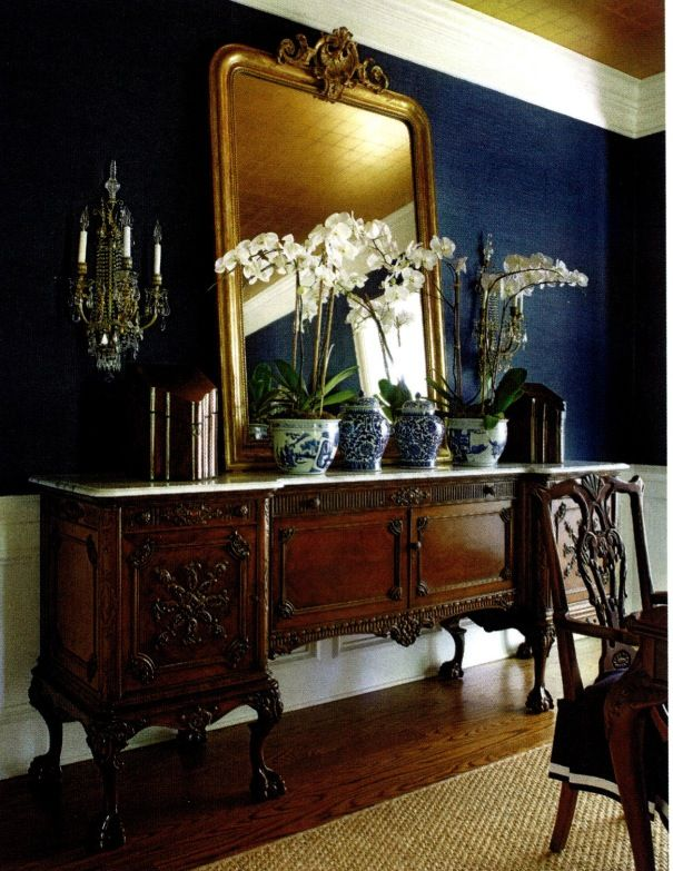 """Megan Winters; blue with brio; Traditional Home, April 2014.  """"Haruki Sisal"""" by Schumacher covers the walls."""