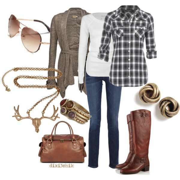 Cute for fall: Sweaters, Weekend Outfits, Deer Head, Fall Outfits, Riding Boots, Plaid Shirts, Necklaces, Cowboys Boots, Country