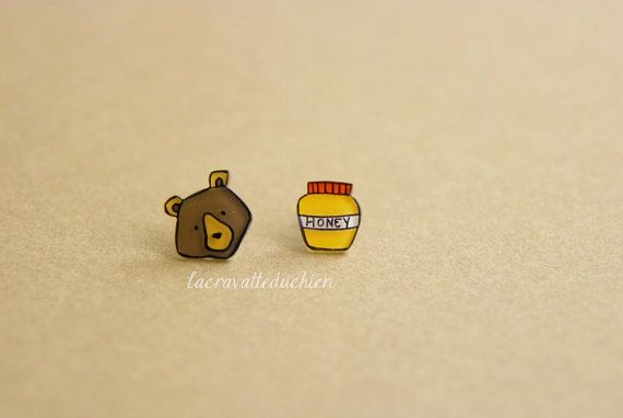 Bear and honey stud earrings  Woodland animal by lacravatteduchien, €10.00