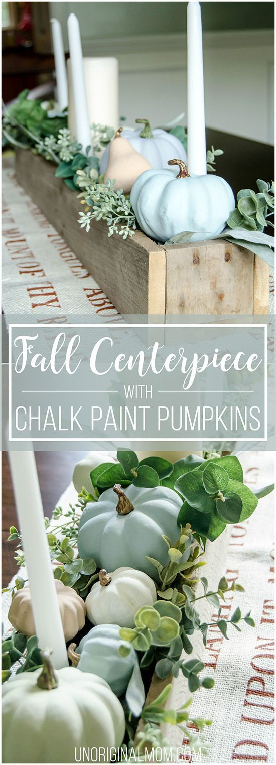 Beautiful pallet box fall centerpiece filled with chalk painted pumpkins. Great neutral fall decor that will last through Thanksgiving!