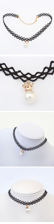 Collar gótico, Encaje, con Perlas de plástico ABS & aleación de zinc, con 6cm extender cadena, Esférico, chapado en oro real, estilo gótico, Negro, 32cm, Vendido para aproximado 12.6 Inch Sarta,Abalorios de joyería por mayor de China