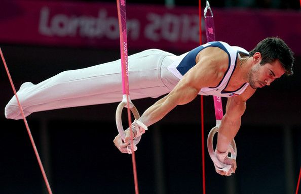 Tommy Ramos of Puerto Rico competes in the rings in the Artistic Gymnastics Men's Team qualification on Day 1 of the London 2012 Olympic Games at North Greenwich Arena on July 28, 2012 in London, England.