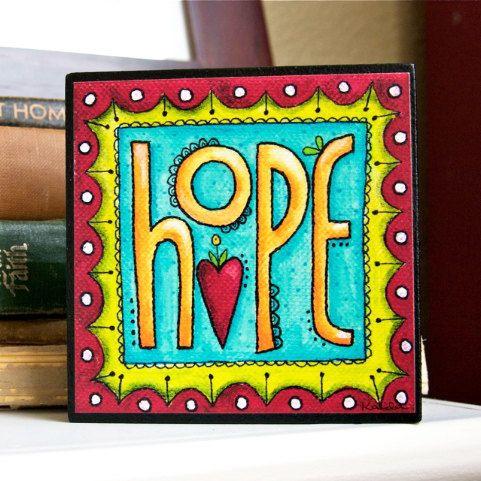 HOPE - Art Block - Inspirational - Stackable - Wall Decor- 4x4