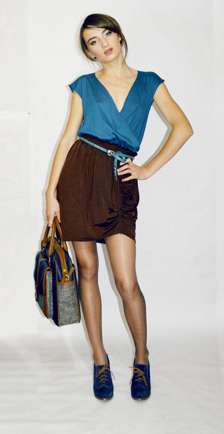 Brown Elastic Draping Skirt by Vasya on Etsy, #slimming effect #chocolate brown #short skirt