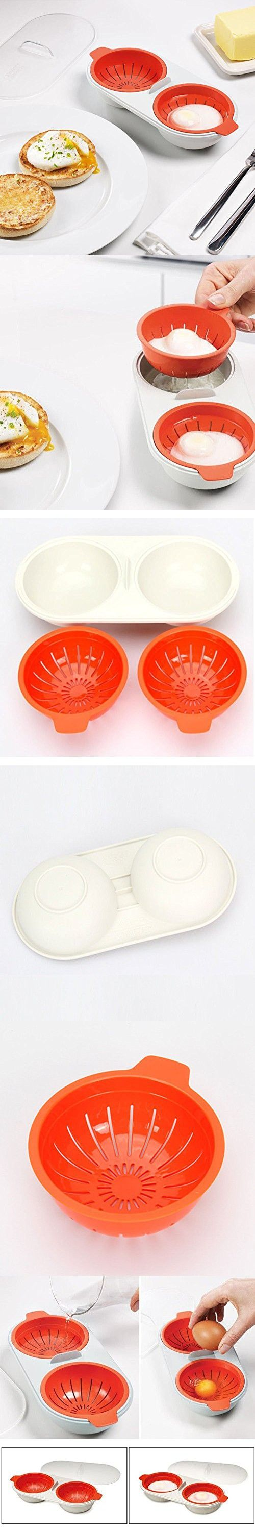 TOPCHANCES Silicone Microwave Double Egg Poacher Red