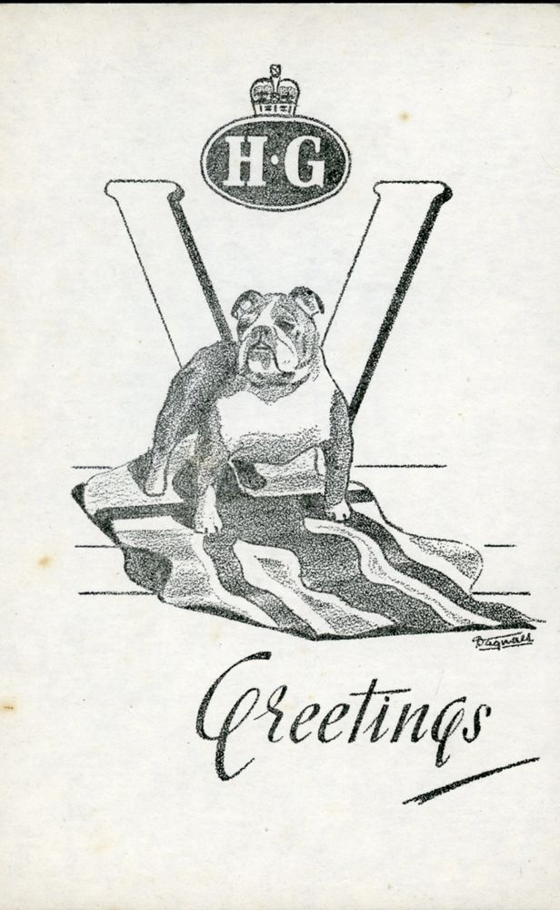 HOME GUARD CHRISTMAS CARD BRITISH BULLDOG 2ND SOMERSET BATTALION JACK BICKELL