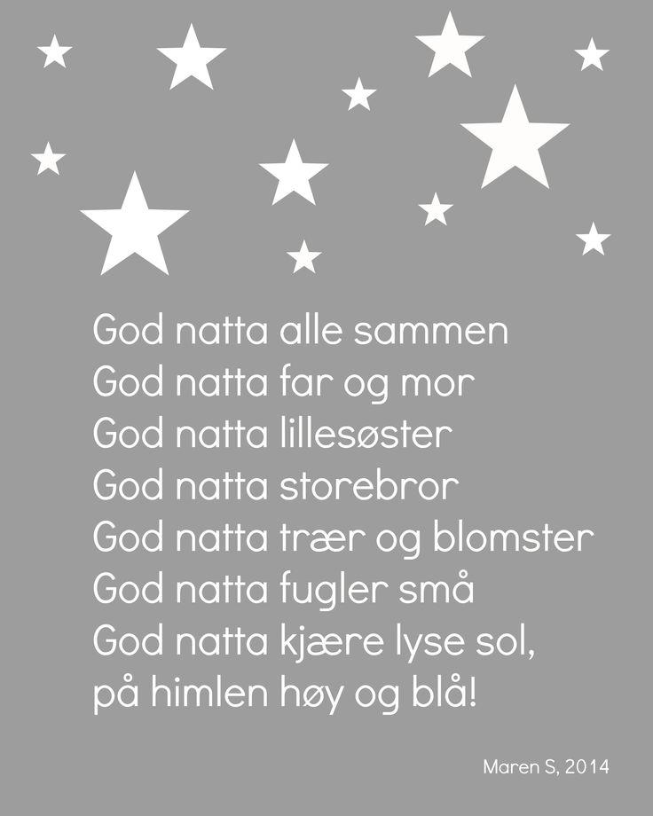 God natta poster Maren S, 2014 Interiør. Print. Sang. Barnerom. Good night. Nursery.