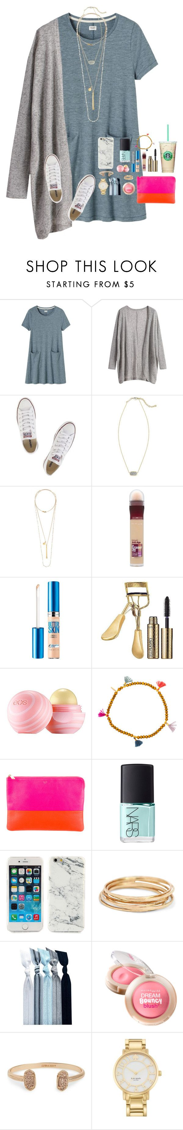"""""""Happiness is a state of mind :) :)"""" by graciegerhart7 ❤ liked on Polyvore featuring Toast, Converse, Kendra Scott, Chan Luu, Maybelline, tarte, Eos, Shashi, CÉLINE and NARS Cosmetics"""