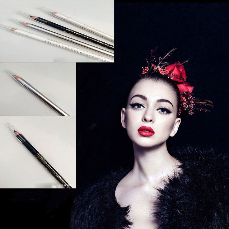 New Makeup Tool Kit Cheap 4 Color Waterproof Long-lasting White Silver Black Glitter Eyeliner Pencil Pen delineador