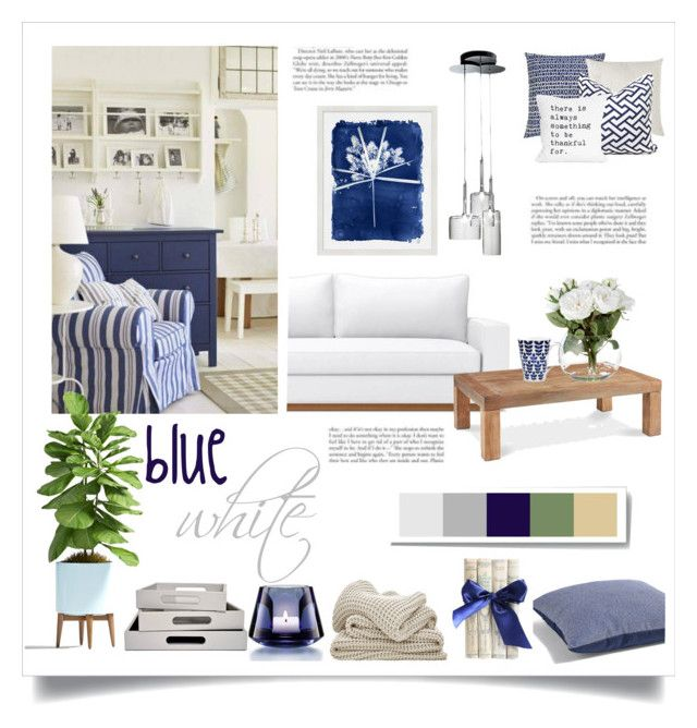 blue and white by levai-magdolna on Polyvore featuring interior, interiors, interior design, home, home decor, interior decorating, Axo Light, Noritake, Pottery Barn and Baccarat