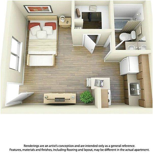 Desain Denah Rumah 1 Kamar Tidur Minimalis 3D